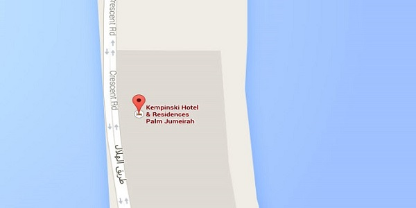 Location Map of Kempinski Hotel & Residences Palm Jumeirah