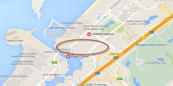 Location Map of LikeToBook Dubai Holiday Rentals Princess Tower Penthouse