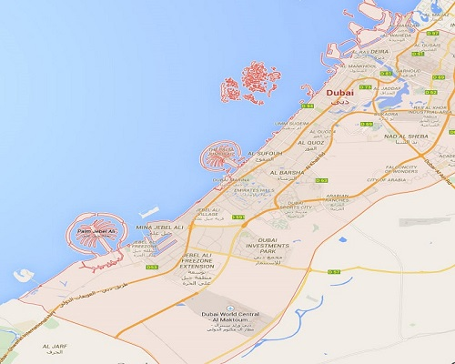 Location Map of Dubai.