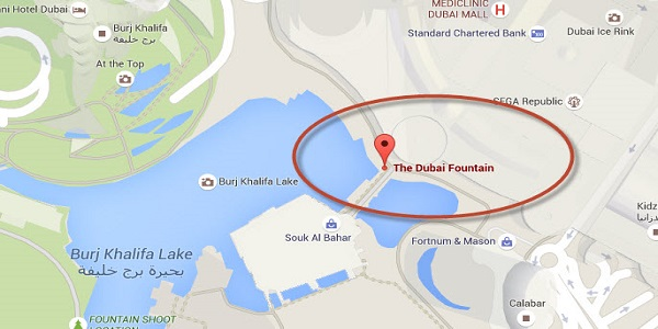 Location Map of The Dubai Fountain