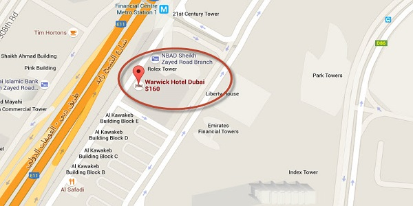Location Map of Warwick Hotel Dubai